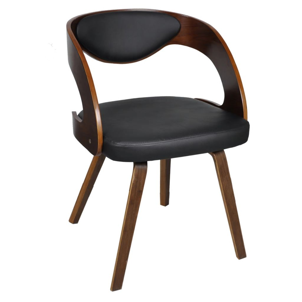 Dining Chairs 4 pcs Brown Bent Wood and Faux Leather 4