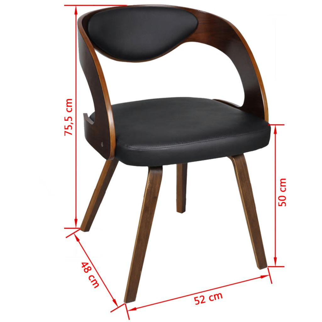 Dining Chairs 4 pcs Brown Bent Wood and Faux Leather 7