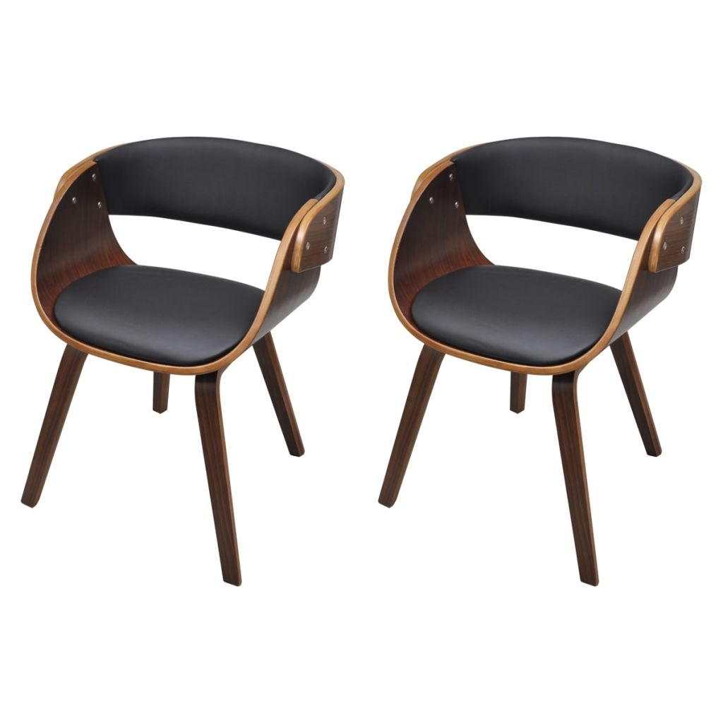 Dining Chairs 2 pcs Brown Bent Wood and Faux Leather 2