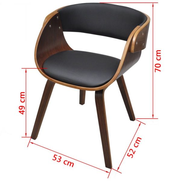 Dining Chairs 2 pcs Brown Bent Wood and Faux Leather 7