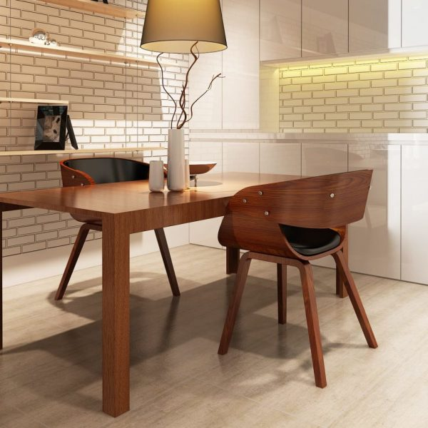 Dining Chairs 2 pcs Brown Bent Wood and Faux Leather 1