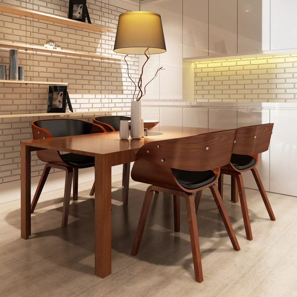 Dining Chairs 4 pcs Brown Bent Wood and Faux Leather