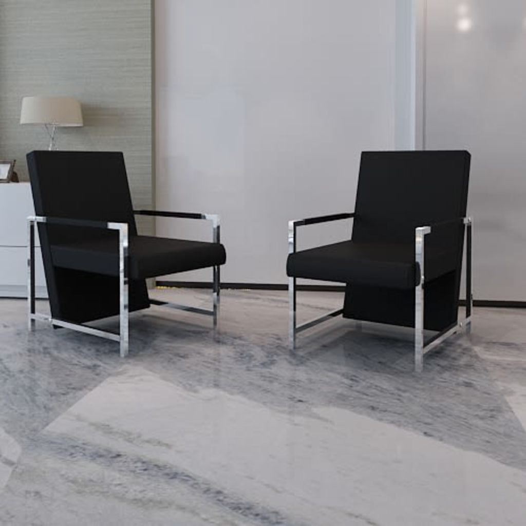 Armchairs 2 pcs with Chrome Frame Black Faux Leather