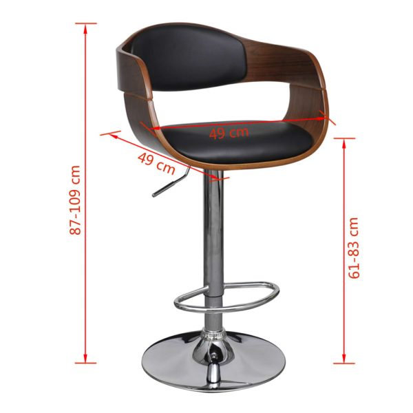 Bar Stool Bent Wood and Faux Leather 6