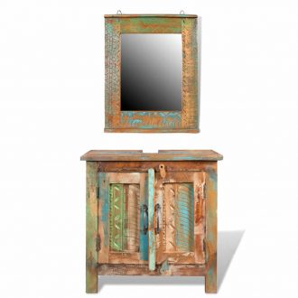 Reclaimed Solid Wood Bathroom Vanity Cabinet Set with Mirror 1