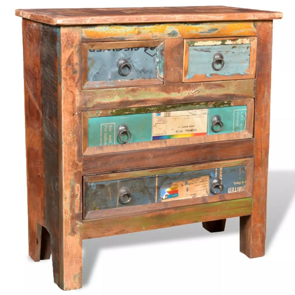 Reclaimed Cabinet Solid Wood with 4 Drawers 1