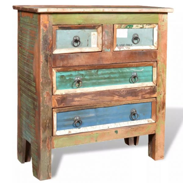 Reclaimed Cabinet Solid Wood with 4 Drawers 5