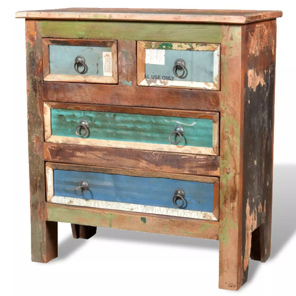 Reclaimed Cabinet Solid Wood with 4 Drawers 7