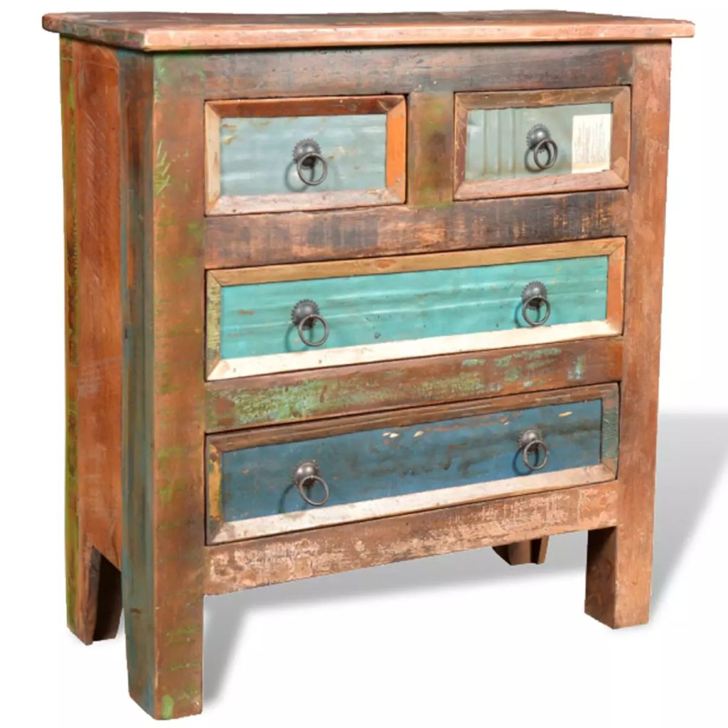 Reclaimed Cabinet Solid Wood with 4 Drawers 9