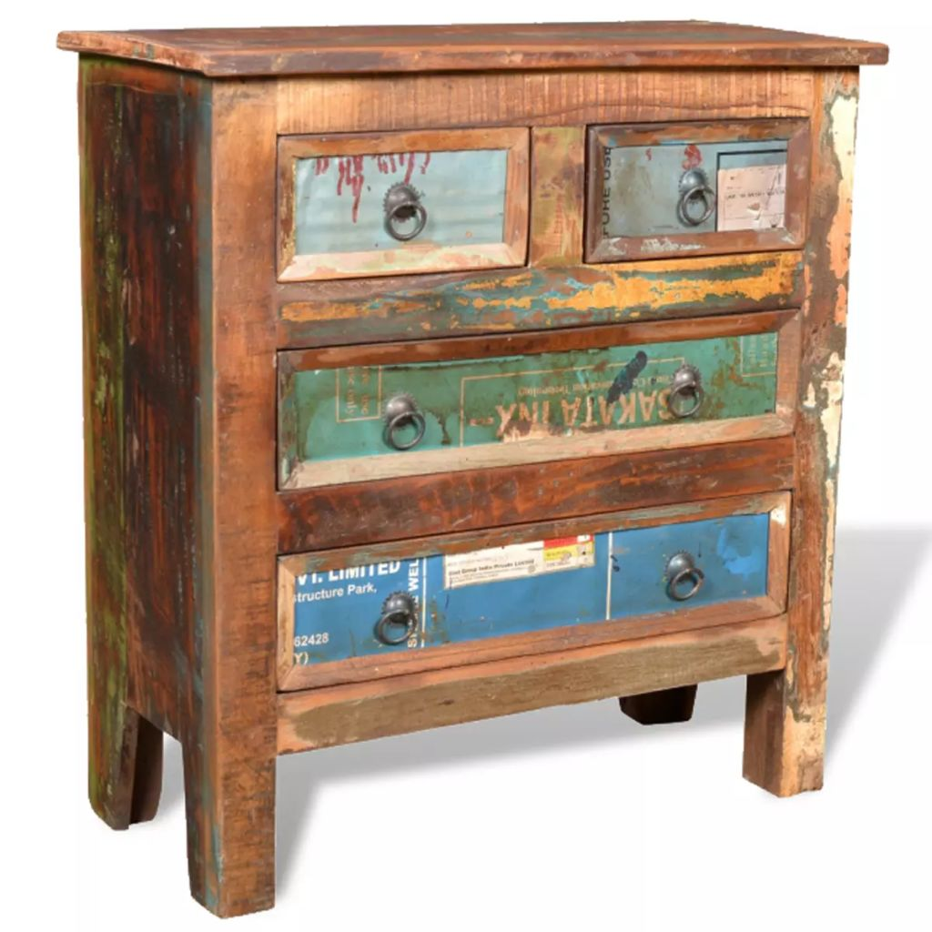 Reclaimed Cabinet Solid Wood with 4 Drawers 10