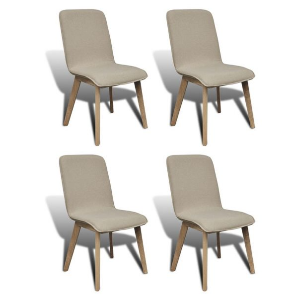 Dining Chairs 4 pcs Beige Fabric and Solid Oak Wood 1