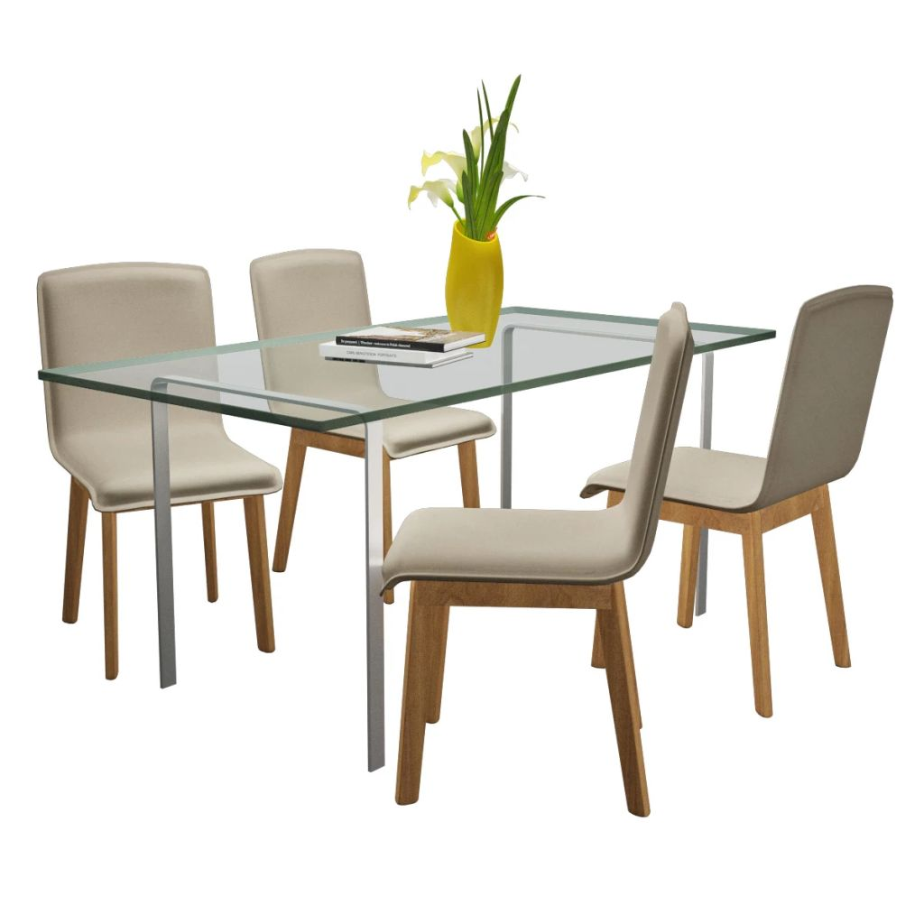Dining Chairs 4 pcs Beige Fabric and Solid Oak Wood 2