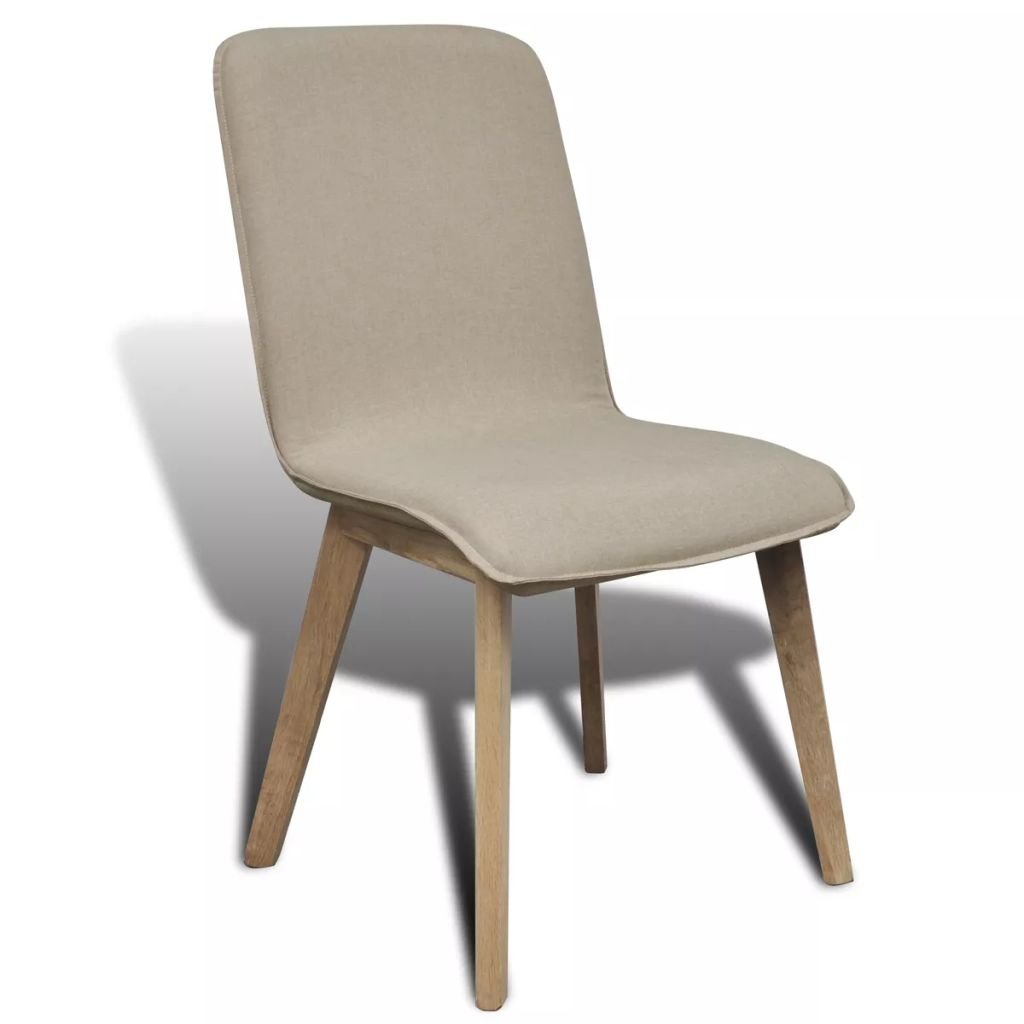 Dining Chairs 4 pcs Beige Fabric and Solid Oak Wood 3