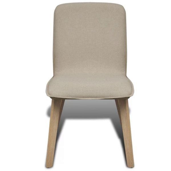 Dining Chairs 4 pcs Beige Fabric and Solid Oak Wood 4
