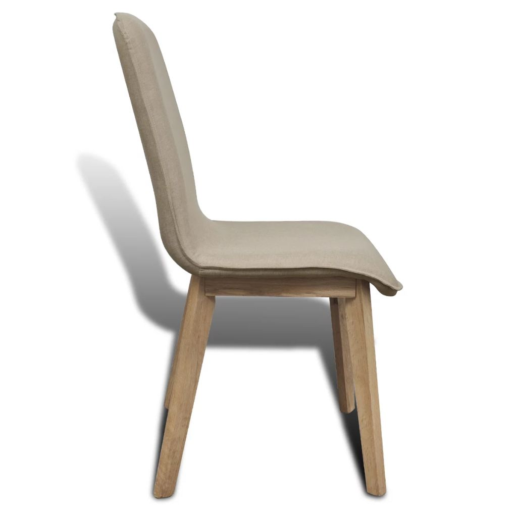 Dining Chairs 4 pcs Beige Fabric and Solid Oak Wood 5