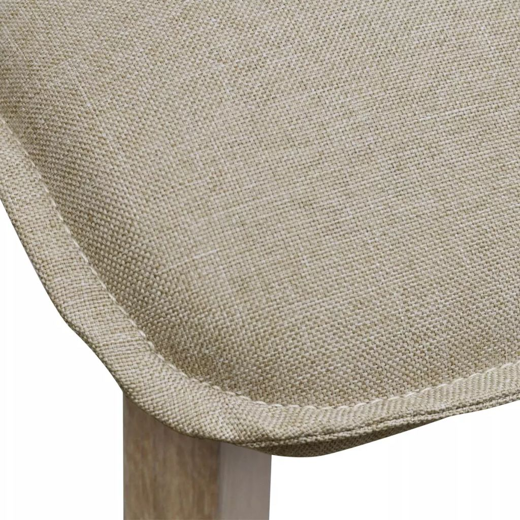Dining Chairs 4 pcs Beige Fabric and Solid Oak Wood 6