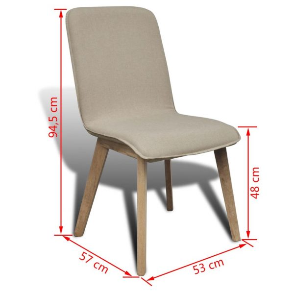 Dining Chairs 4 pcs Beige Fabric and Solid Oak Wood 7