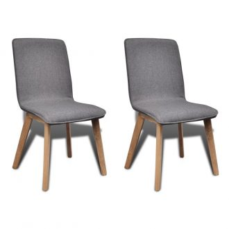 Dining Chairs 2 pcs Light Grey Fabric and Solid Oak Wood 1