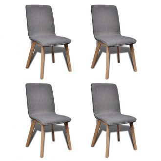 Dining Chairs 4 pcs Light Grey Fabric and Solid Oak Wood 1