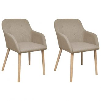 Dining Chairs 2 pcs Beige Fabric and Solid Oak Wood 1