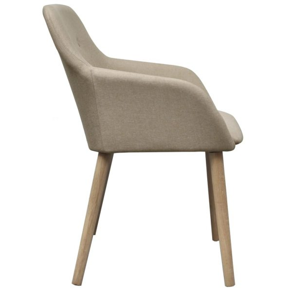 Dining Chairs 2 pcs Beige Fabric and Solid Oak Wood 5