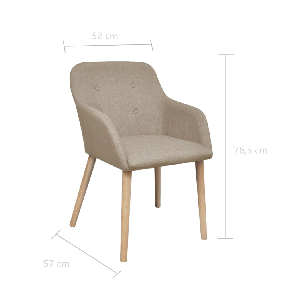 Dining Chairs 2 pcs Beige Fabric and Solid Oak Wood 6
