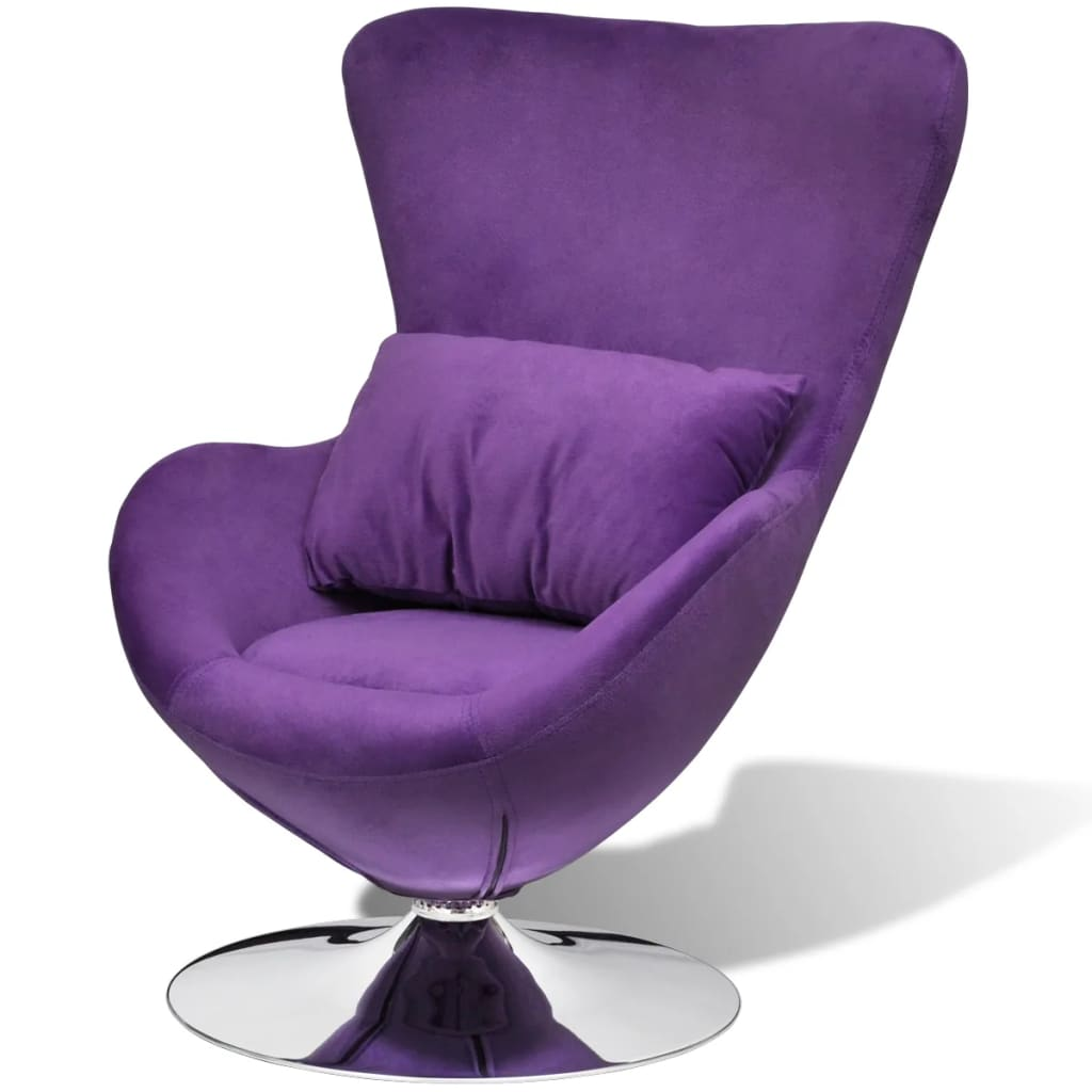 Swivel Egg Chair with Cushion Small Purple Velvet 1