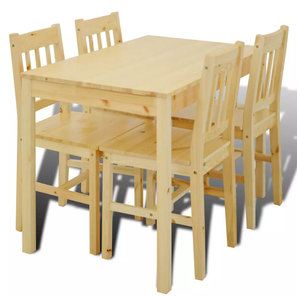 Wooden Dining Table with 4 Chairs Natural 2