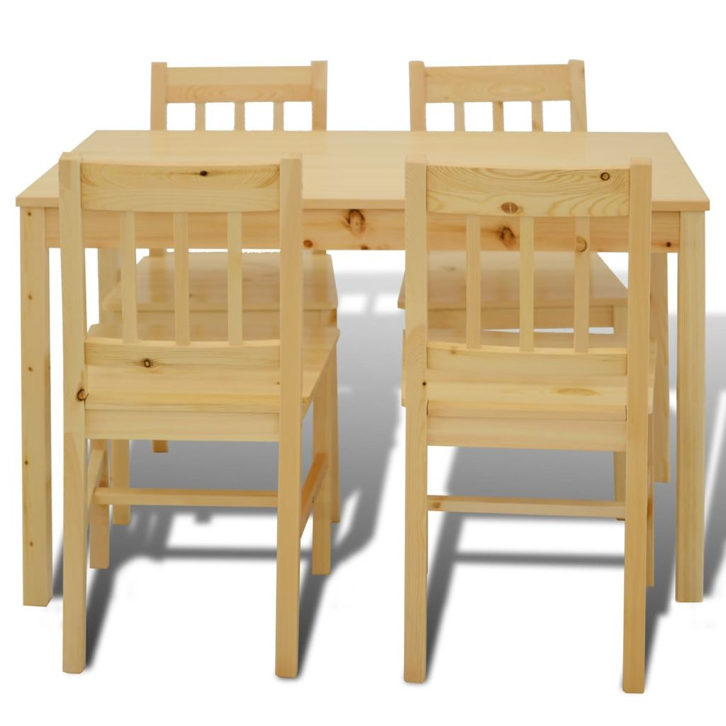 Wooden Dining Table with 4 Chairs Natural 3