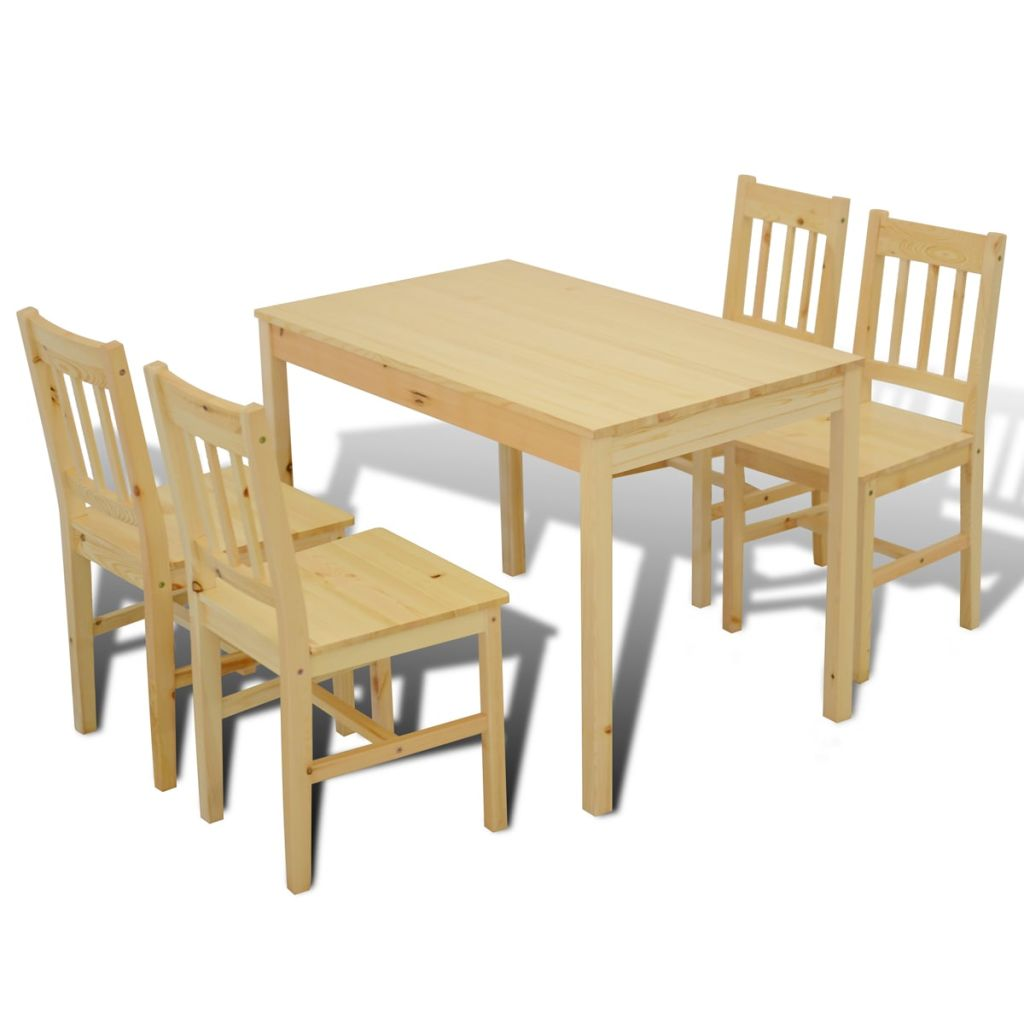 Wooden Dining Table with 4 Chairs Natural 6