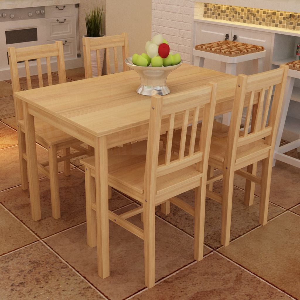 Wooden Dining Table with 4 Chairs Natural 1