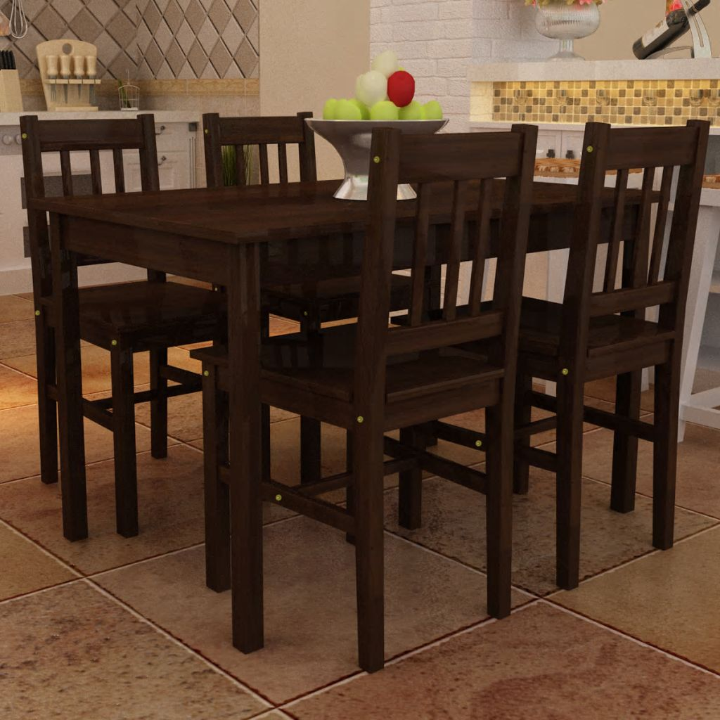 Wooden Dining Table with 4 Chairs Brown 1