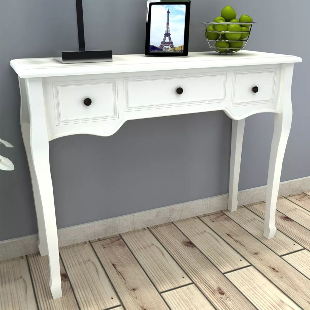 Dressing Console Table with Three Drawers White 1