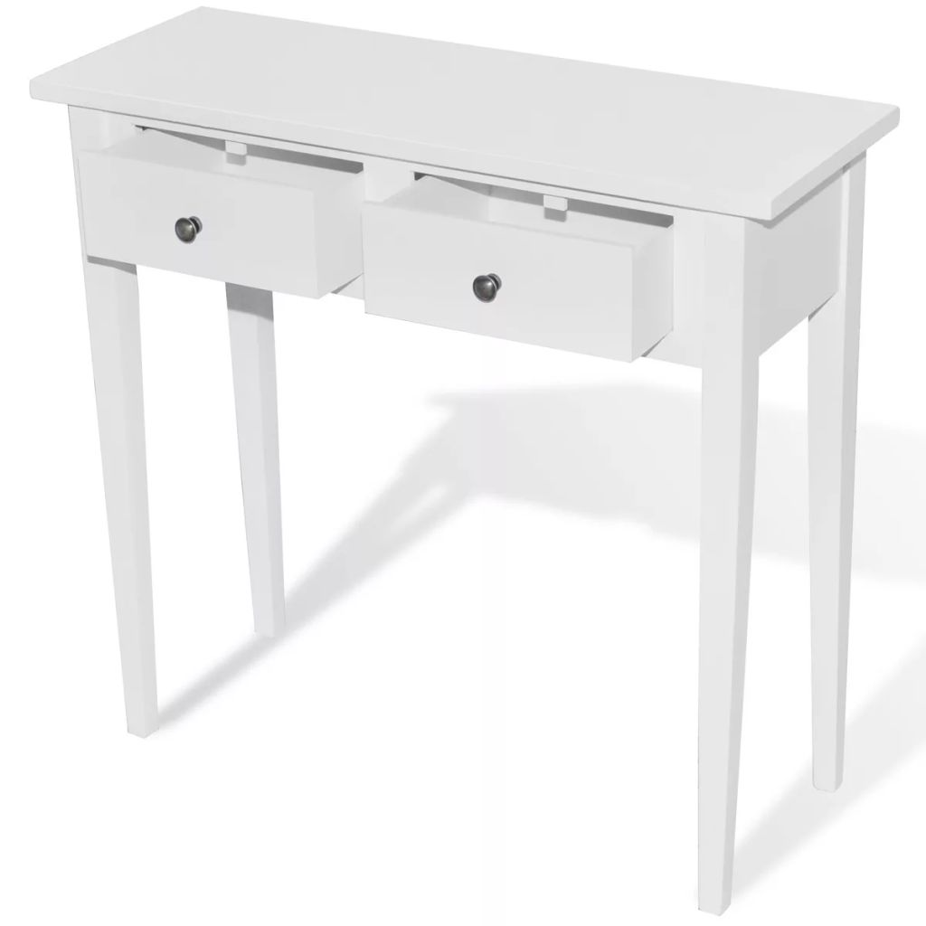 Dressing Console Table with Two Drawers White 2