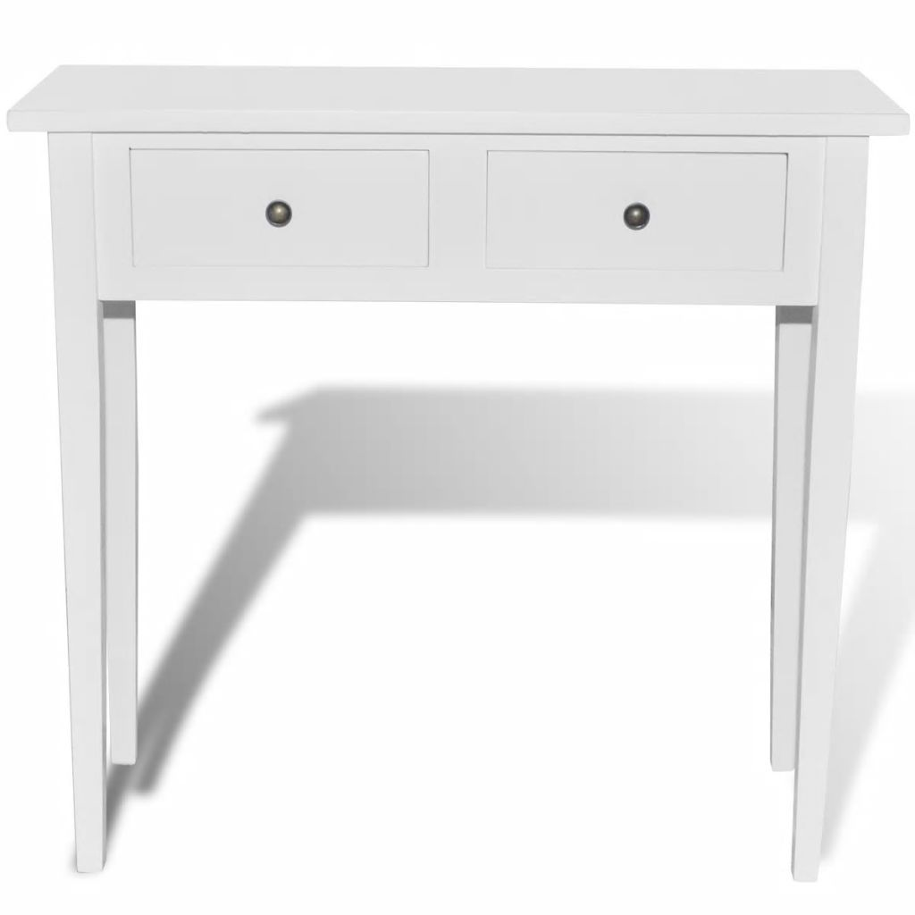 Dressing Console Table with Two Drawers White 3