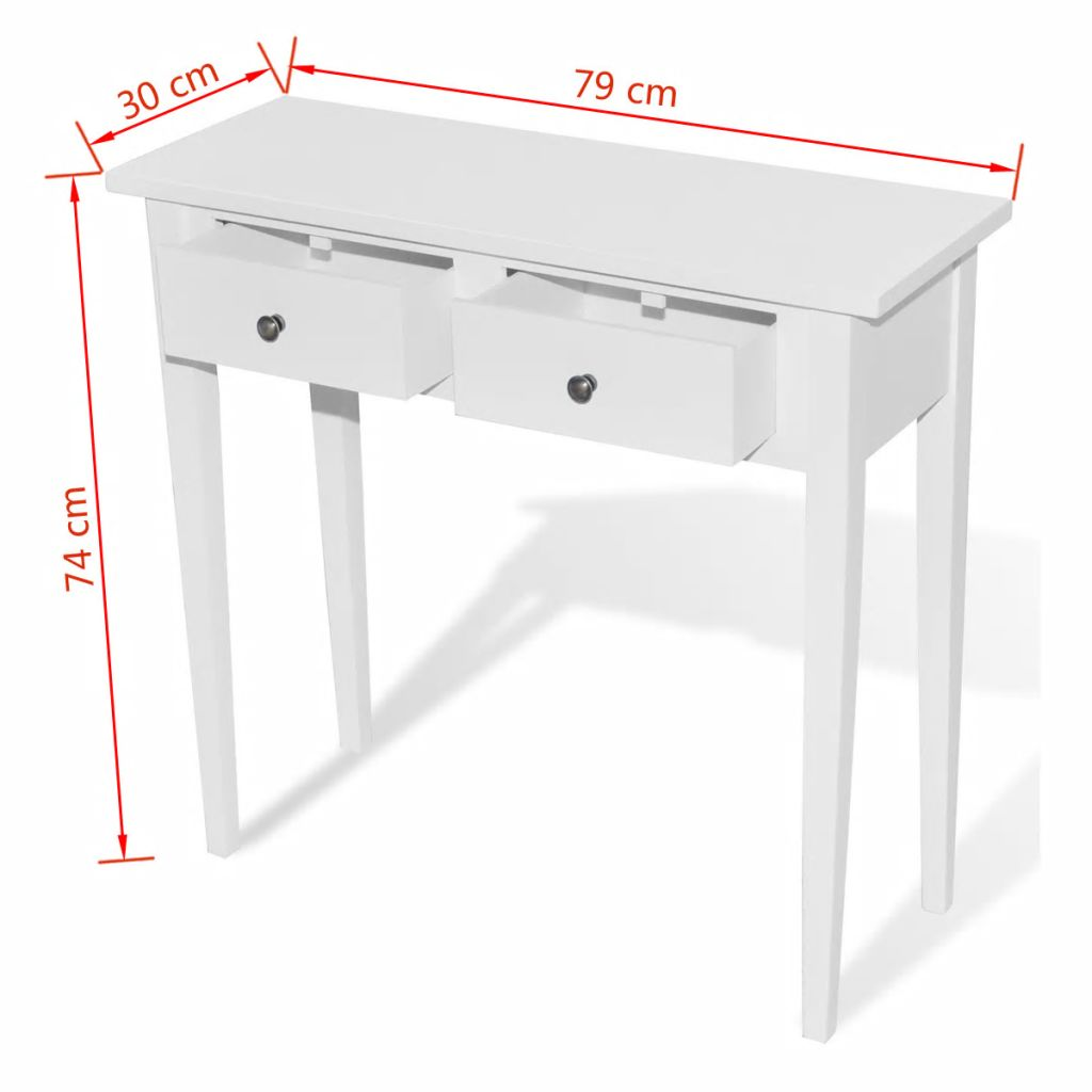 Dressing Console Table with Two Drawers White 6
