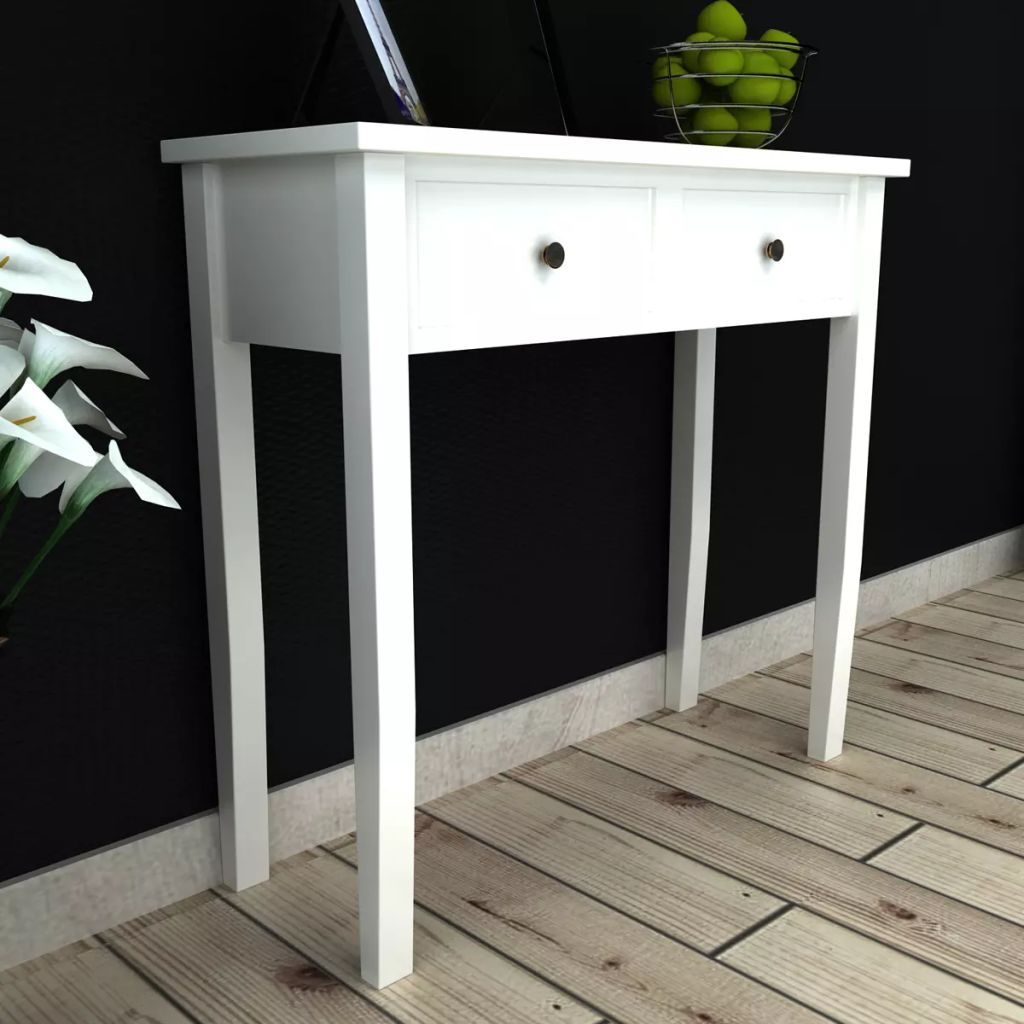 Dressing Console Table with Two Drawers White 1
