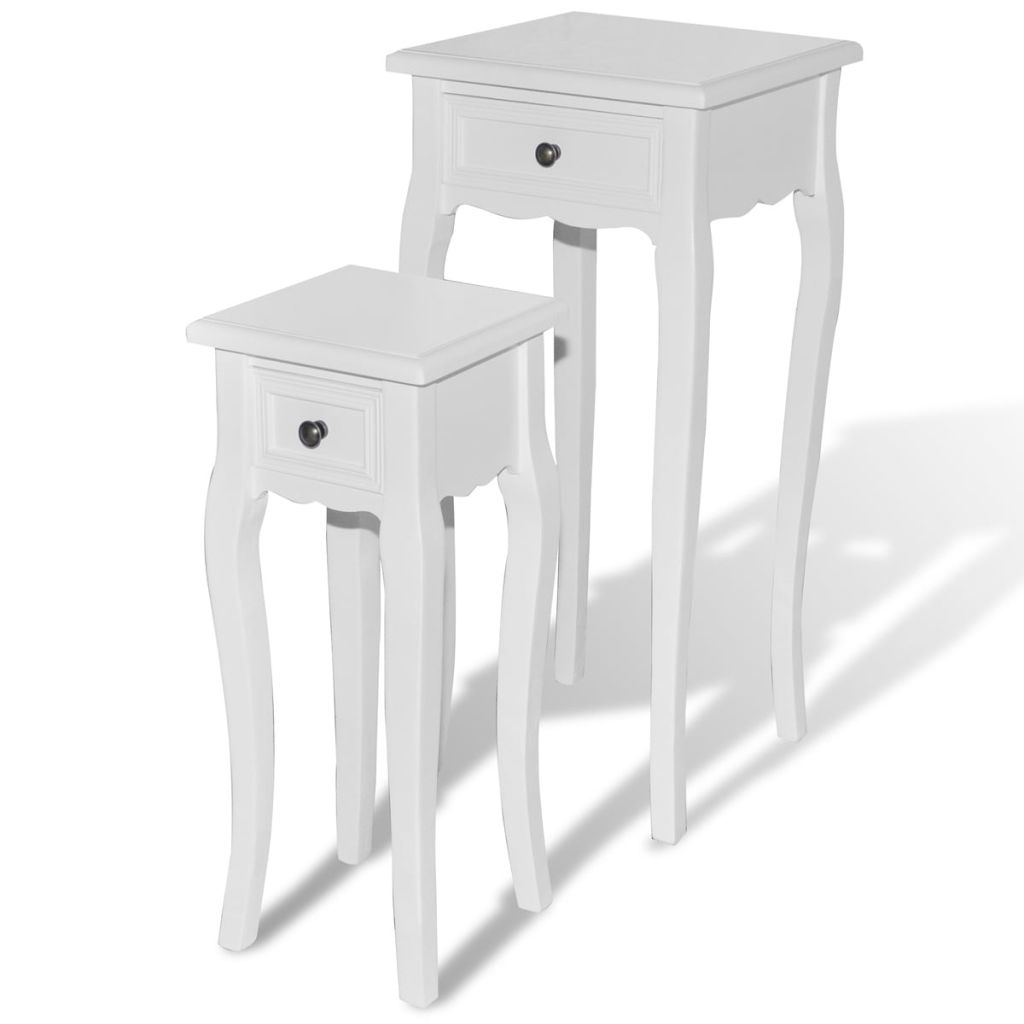 Nesting Side Table Set 2 Pieces with Drawer White 2