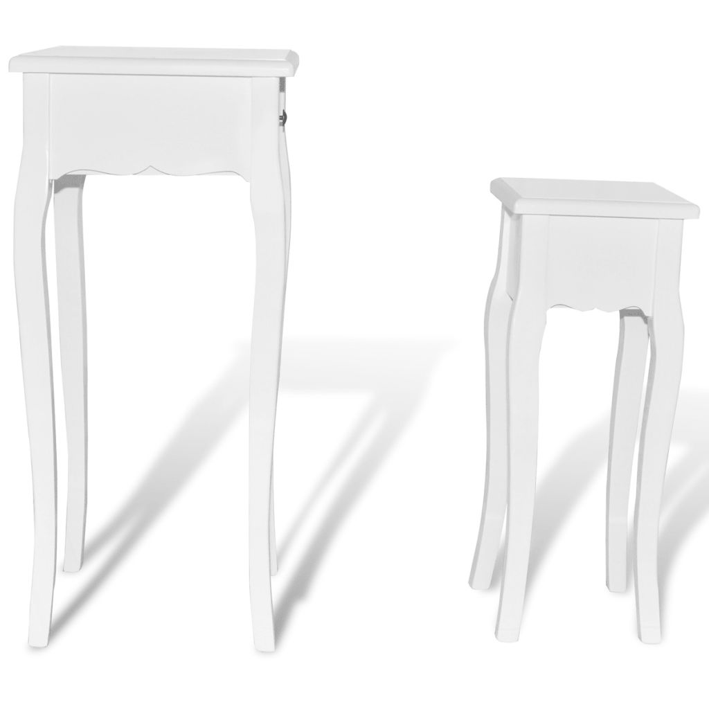 Nesting Side Table Set 2 Pieces with Drawer White 4