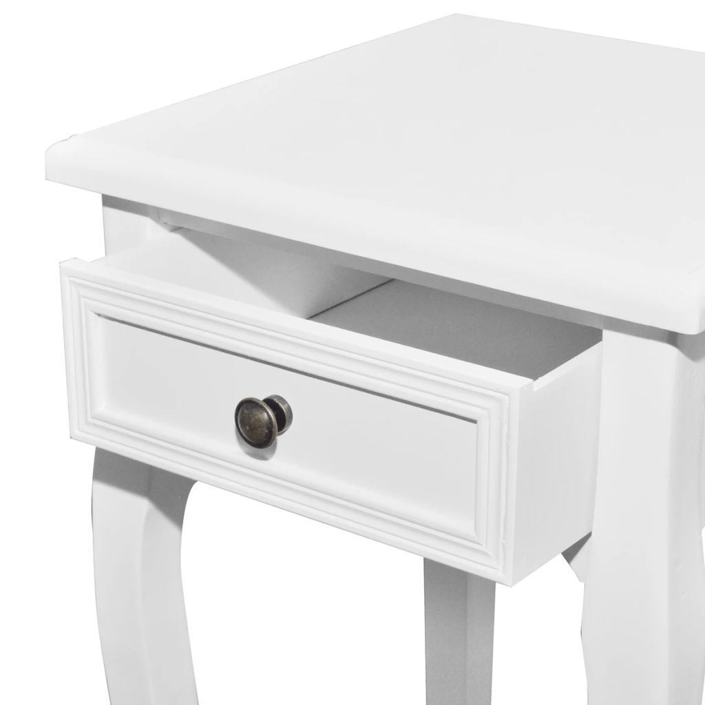 Nesting Side Table Set 2 Pieces with Drawer White 5