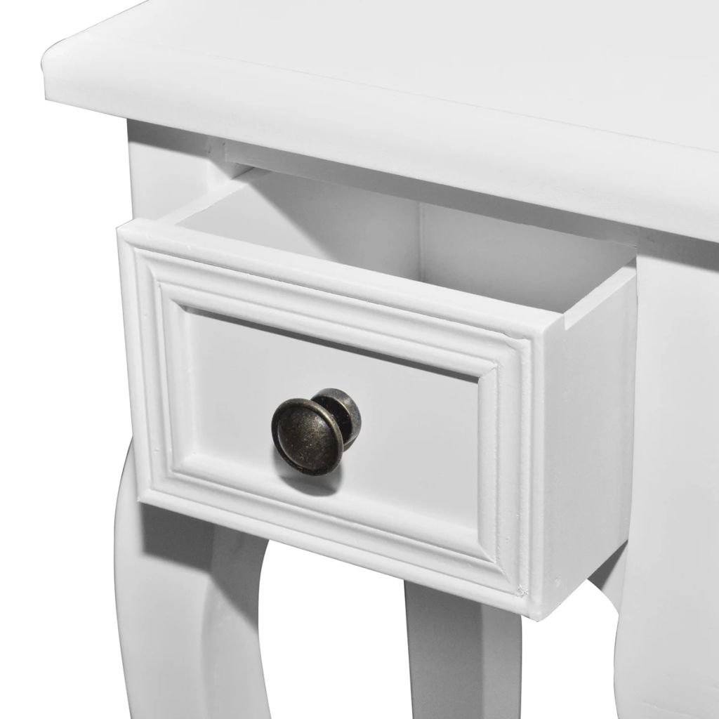 Nesting Side Table Set 2 Pieces with Drawer White 6