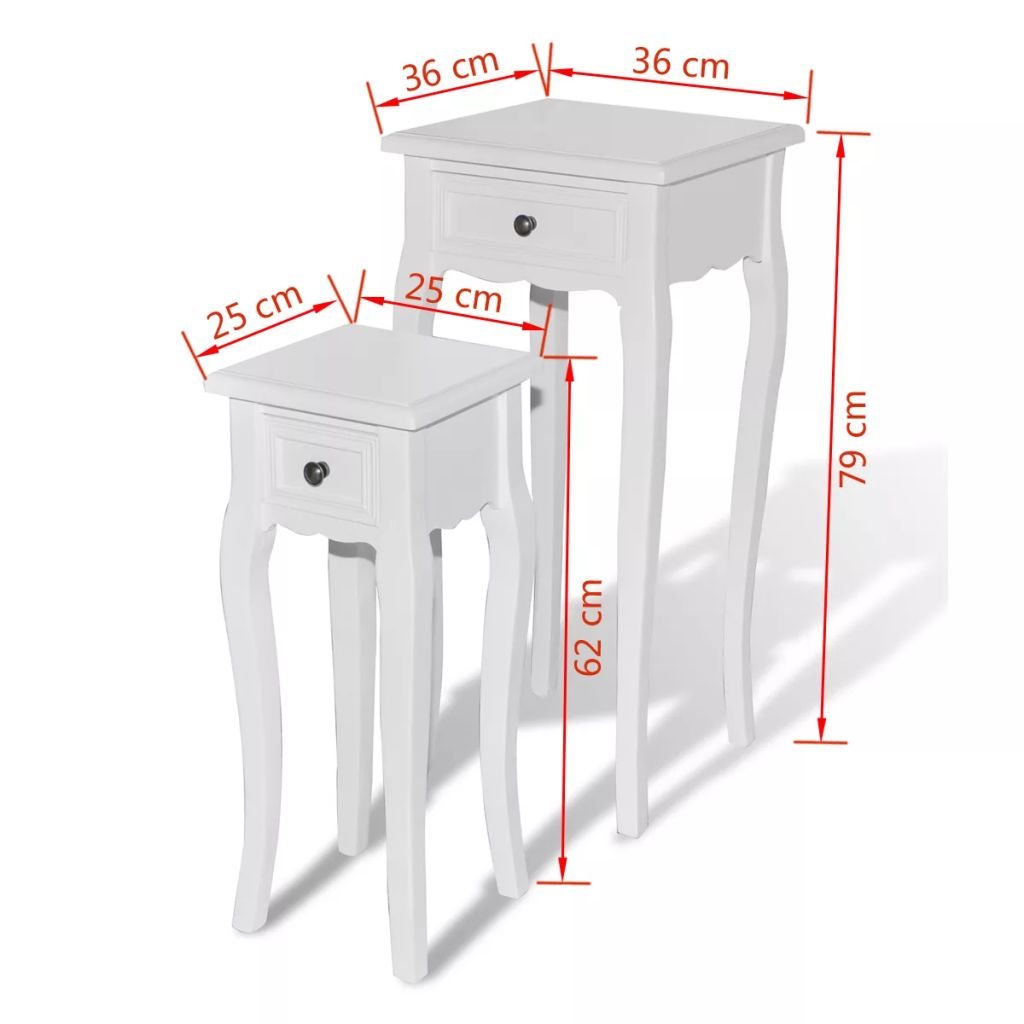 Nesting Side Table Set 2 Pieces with Drawer White 7