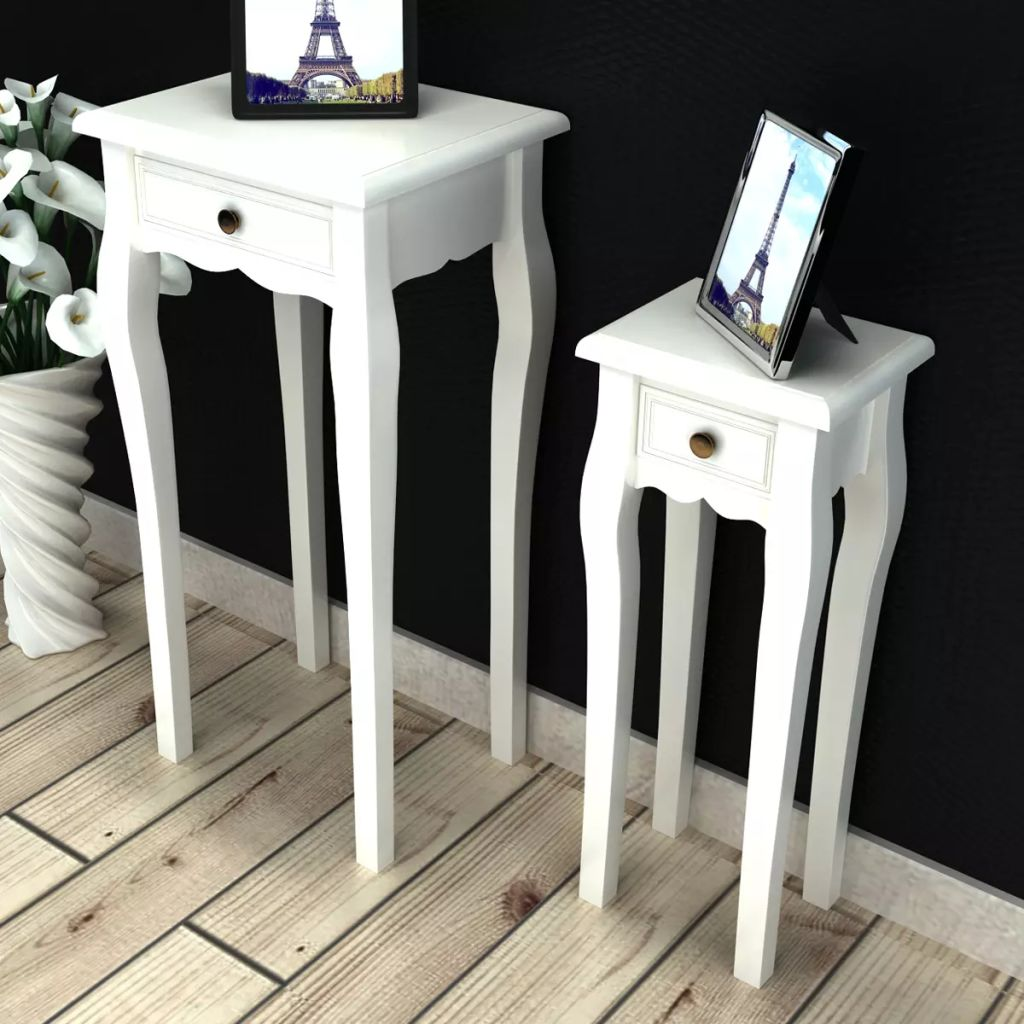 Nesting Side Table Set 2 Pieces with Drawer White 1