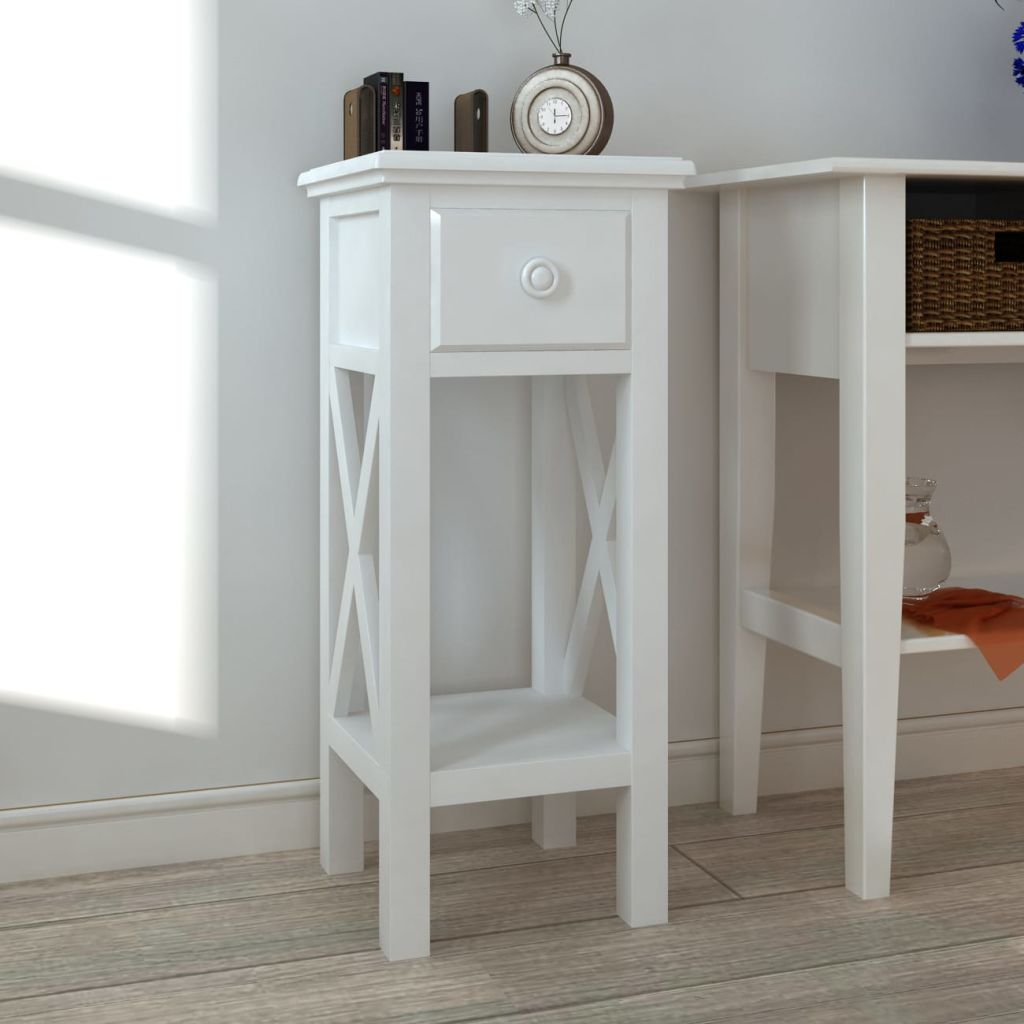 Side Table with Drawer White 1