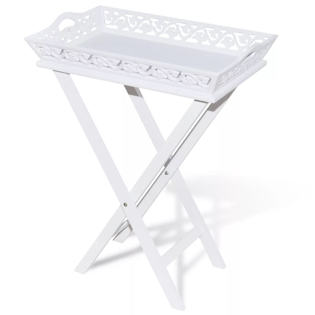 Side Table with Tray White 2
