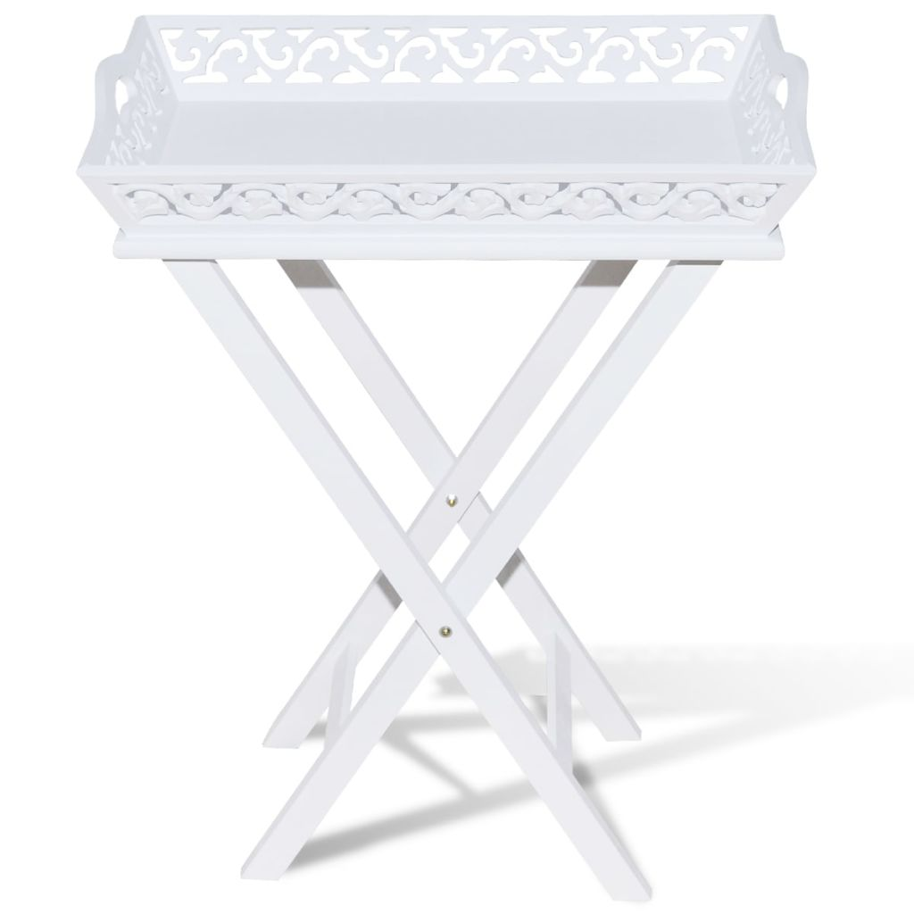 Side Table with Tray White 3