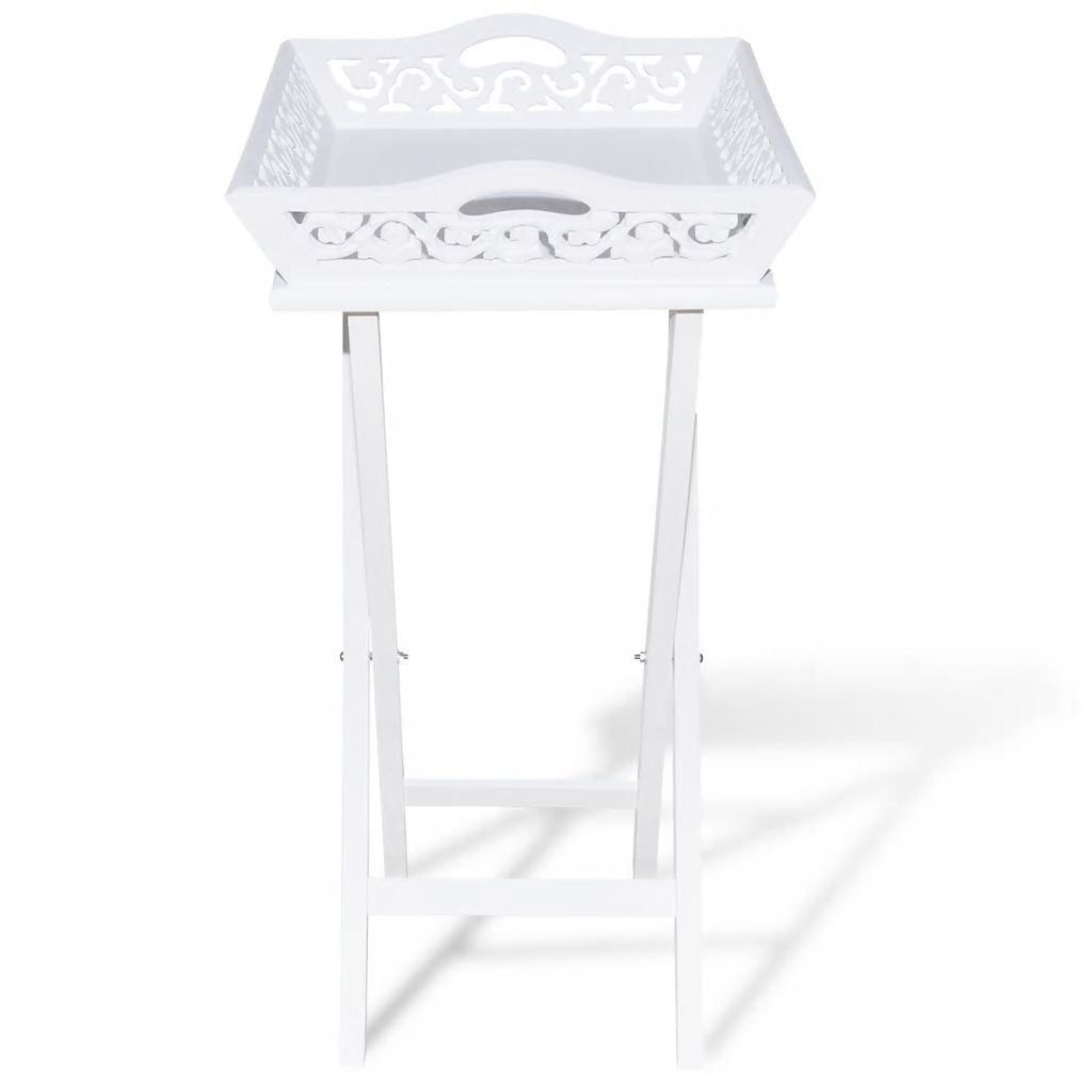 Side Table with Tray White 5
