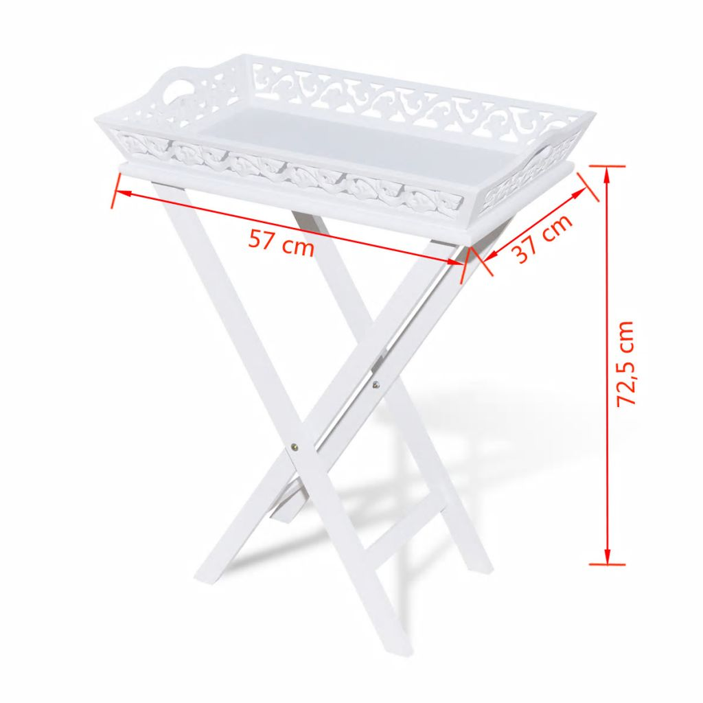 Side Table with Tray White 7