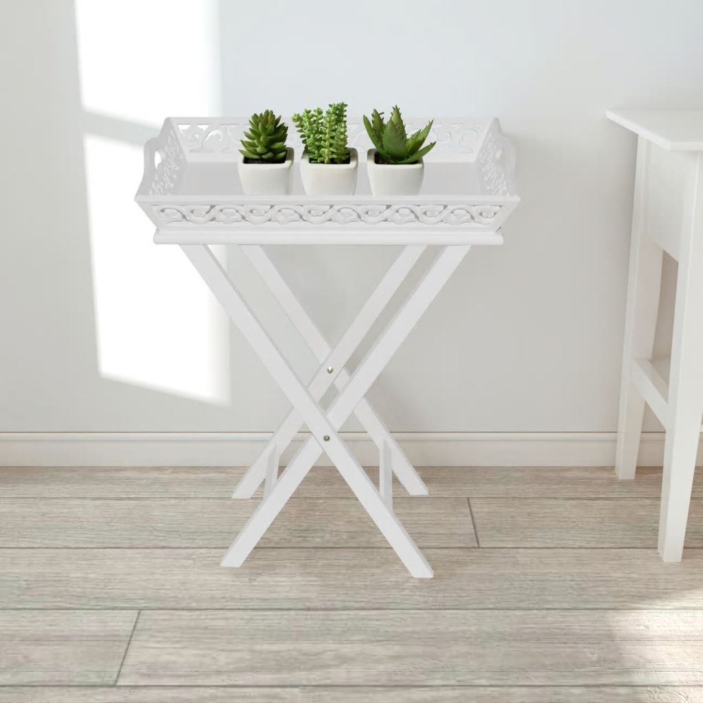Side Table with Tray White 1