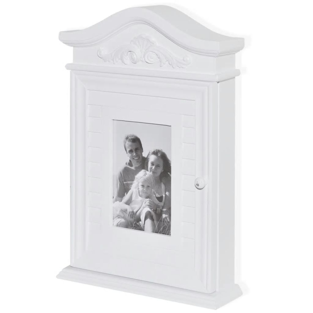 Key Cabinet with Photo Frame White 2
